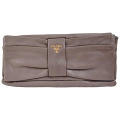 Prada grey leather pochette
