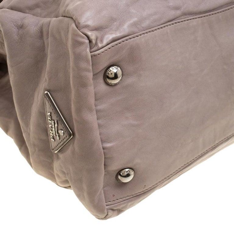 Prada Grey Leather Push Lock Satchel For Sale 6