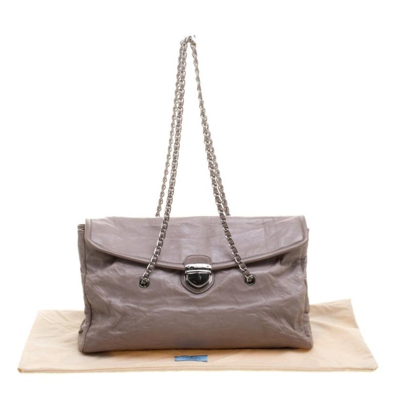 Prada Grey Leather Push Lock Satchel For Sale 7