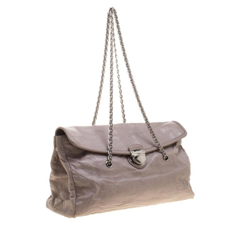 Women's Prada Grey Leather Push Lock Satchel For Sale