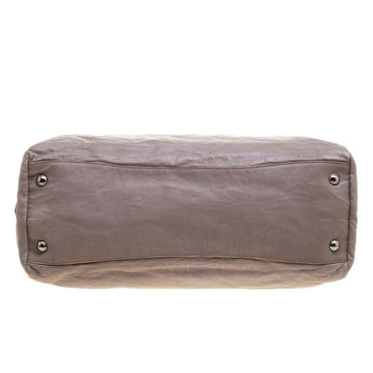 Prada Grey Leather Push Lock Satchel For Sale 1