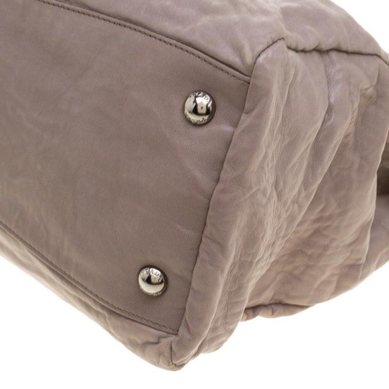 Prada Grey Leather Push Lock Satchel For Sale 3