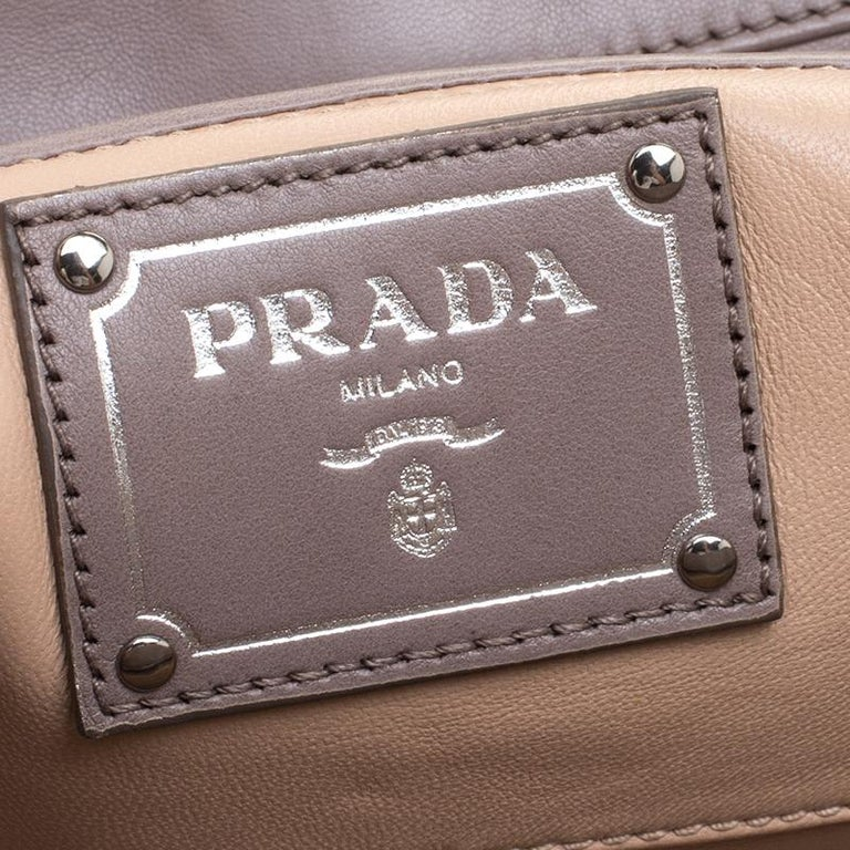 Prada Grey Leather Push Lock Satchel For Sale 2