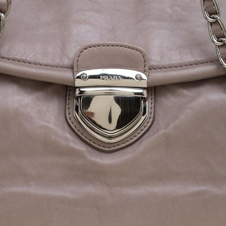 Prada Grey Leather Push Lock Satchel For Sale 4