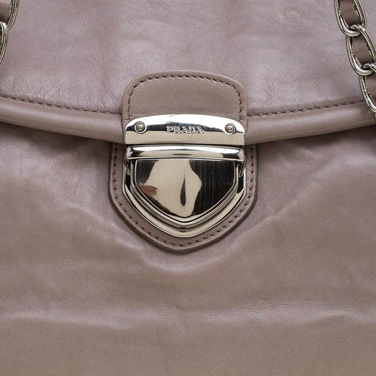 Prada Grey Leather Push Lock Satchel For Sale 3