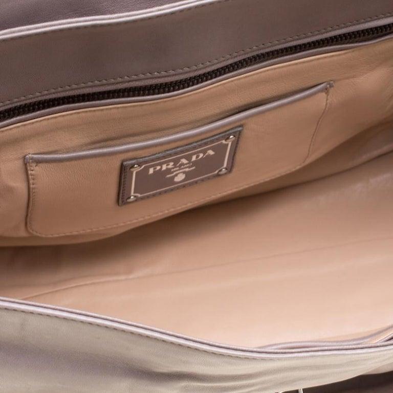 Prada Grey Leather Push Lock Satchel For Sale 5
