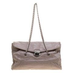 Prada Grey Leather Push Lock Satchel
