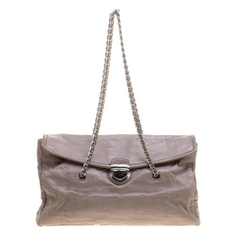 Prada Grey Leather Push Lock Satchel For Sale