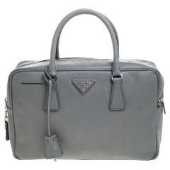 Prada Grey Leather Saffiano Leather Bauletto Satchel