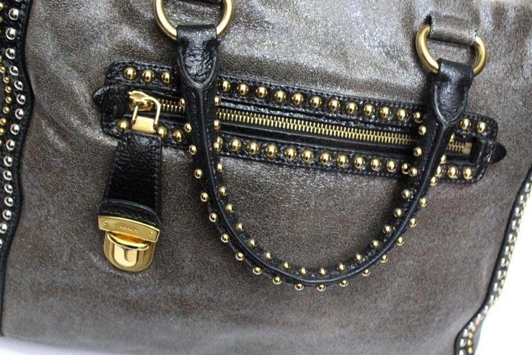 Black Prada Grey Leather Shoulder Bag For Sale