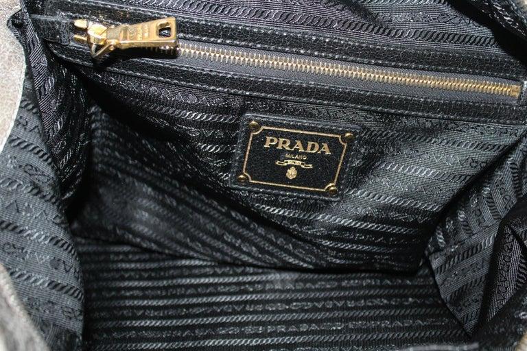 Prada Grey Leather Shoulder Bag For Sale 3