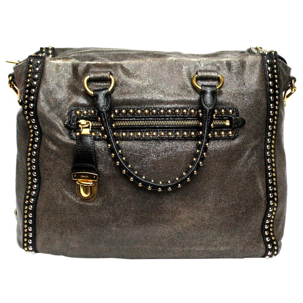 Prada Grey Leather Shoulder Bag