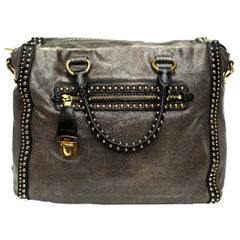 Prada Grey Leather Shoulder Bag