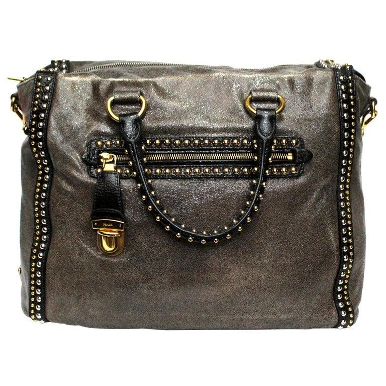 Prada Grey Leather Shoulder Bag For Sale