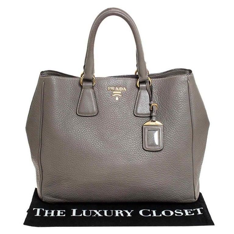 Prada Grey Leather Vitello Daino Tote For Sale 7