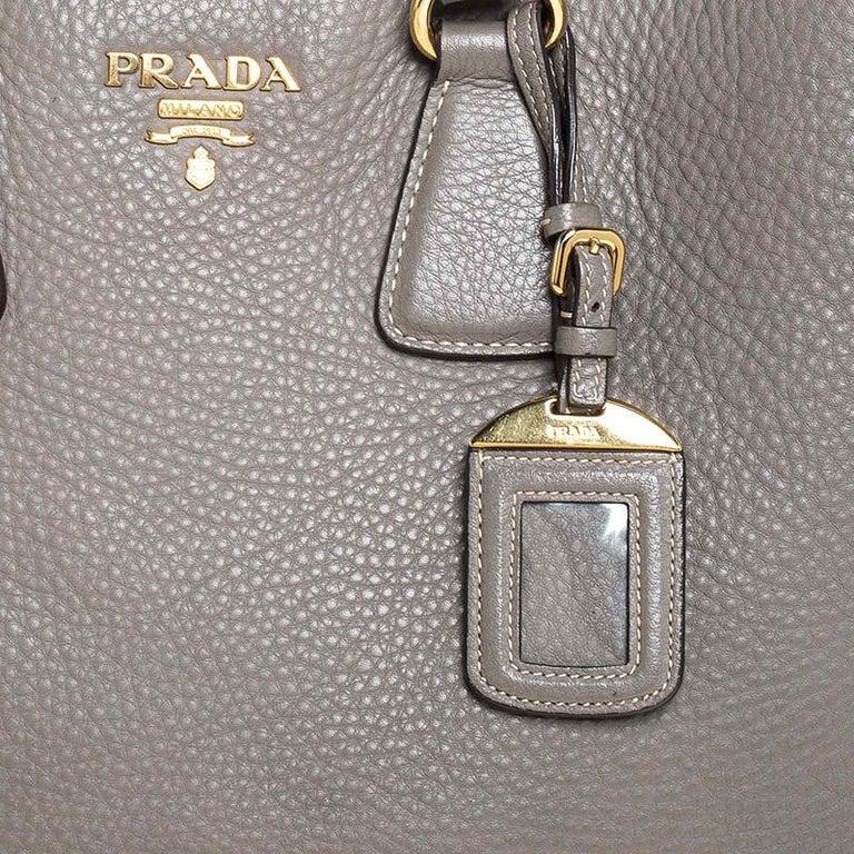 Prada Grey Leather Vitello Daino Tote For Sale 1