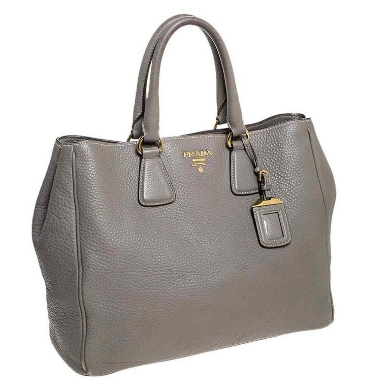 Prada Grey Leather Vitello Daino Tote For Sale 2