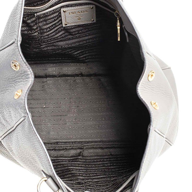 Prada Grey Leather Vitello Daino Tote For Sale 3