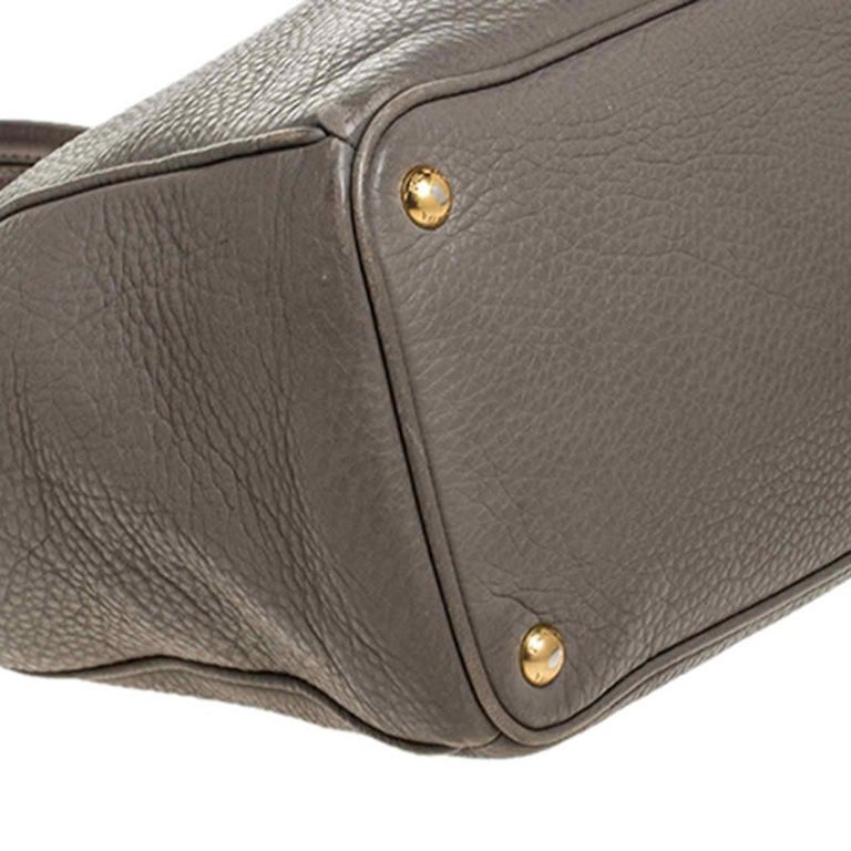 Prada Grey Leather Vitello Daino Tote For Sale 5
