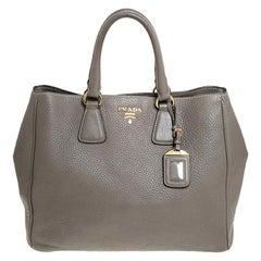 Prada Grey Leather Vitello Daino Tote