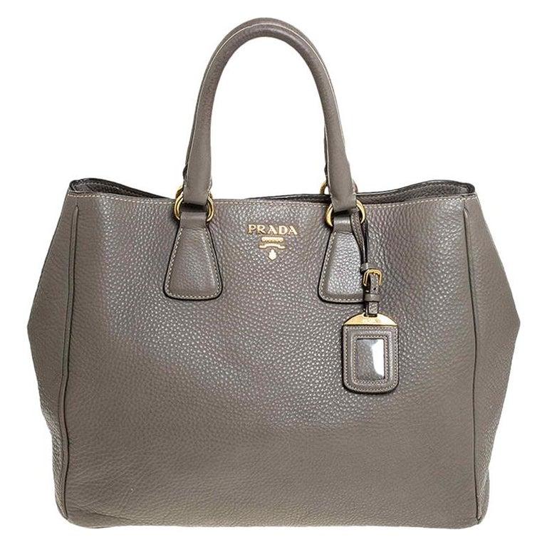 Prada Grey Leather Vitello Daino Tote For Sale
