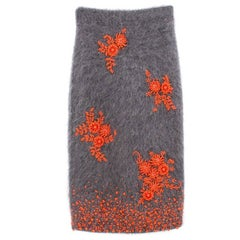 Prada Grey Mohair Blend Skirt with Orange Beaded Embellishment - A/W17