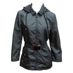 Prada Grey Nylon Hooded Jacket