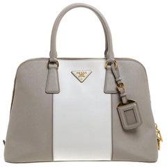 Prada Grey/Off White Saffiano Lux Leather Medium Promenade Tote