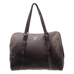 Prada Grey Ombre Glace Calf Leather Tote