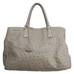 Prada Grey Ostrich Handle Bag