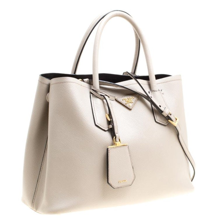 ed5f19e47643 Prada Grey Saffiano Cuir Leather Double Top Handle Bag For Sale at ...