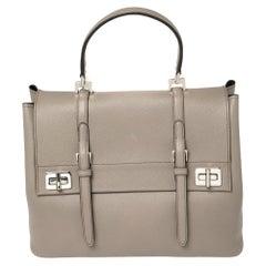 Prada Grey Saffiano Cuir Leather Double Turn Lock Satchel