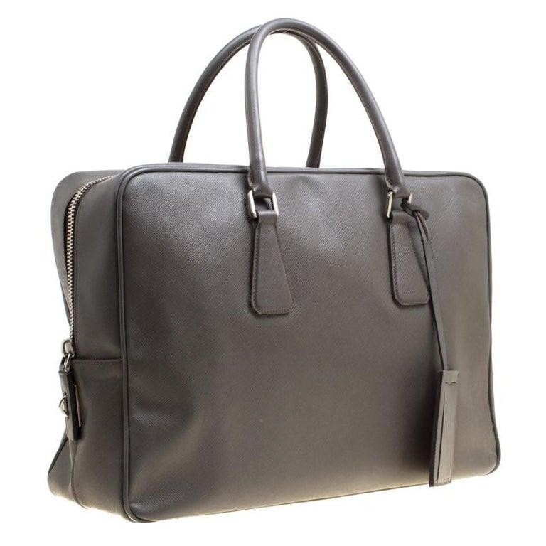 075788bc73e5 Prada Grey Saffiano Leather Briefcase For Sale at 1stdibs
