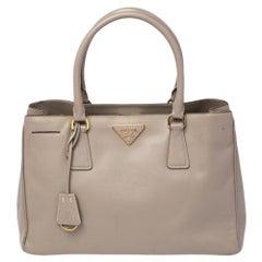 Prada Grey Saffiano Leather Medium Galleria Tote