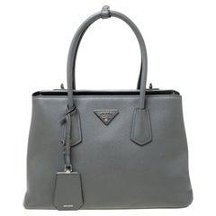 Prada Grey Saffiano Leather Twin Tote