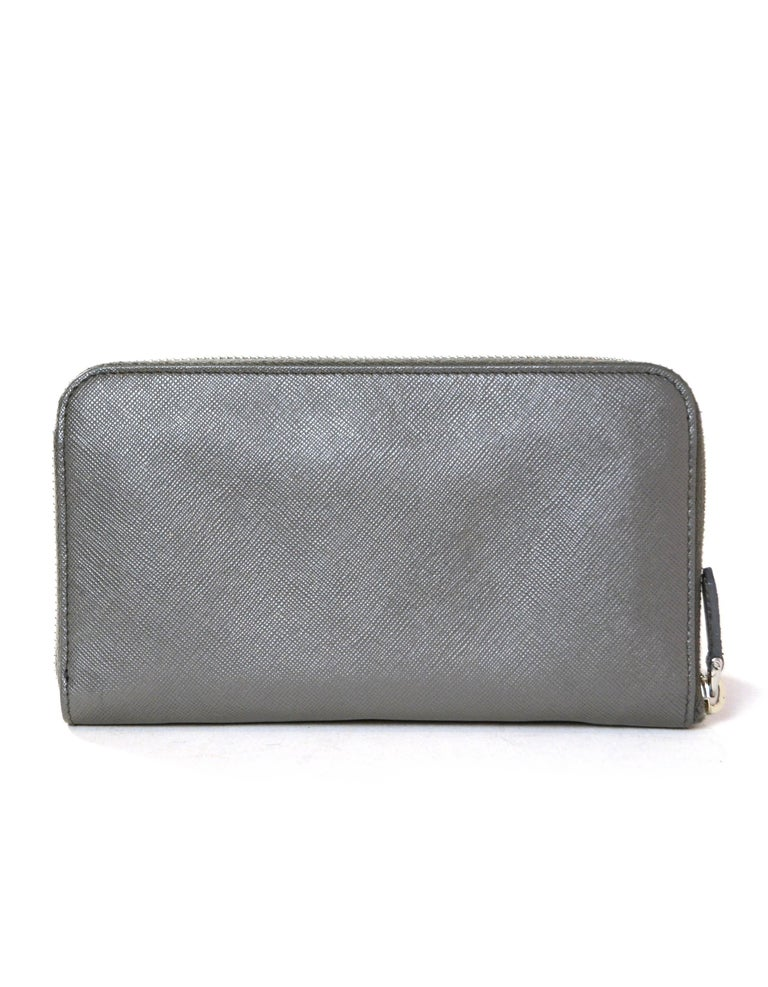 Gray Prada Grey Saffiano Leather Zip Around Wallet For Sale