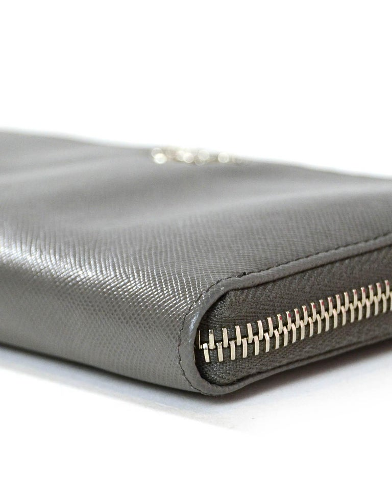 Women's Prada Grey Saffiano Leather Zip Around Wallet For Sale
