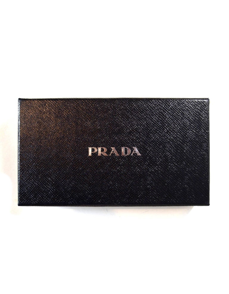Prada Grey Saffiano Leather Zip Around Wallet For Sale 4