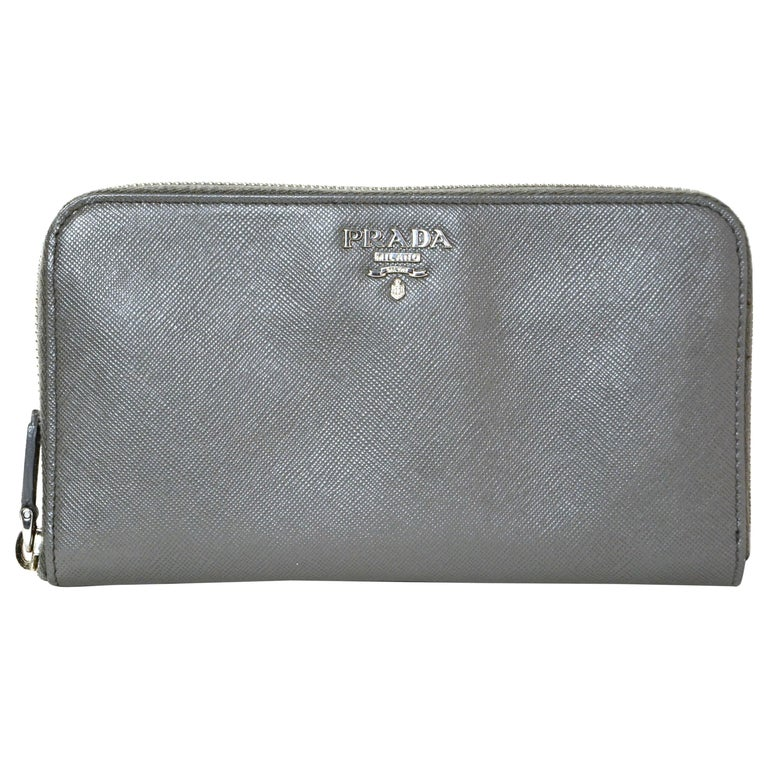 Prada Grey Saffiano Leather Zip Around Wallet For Sale