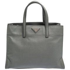 Prada Grey Saffiano Lux Leather Double Handle Tote