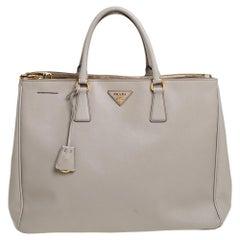 Prada Grey Saffiano Lux Leather Executive Galleria Tote
