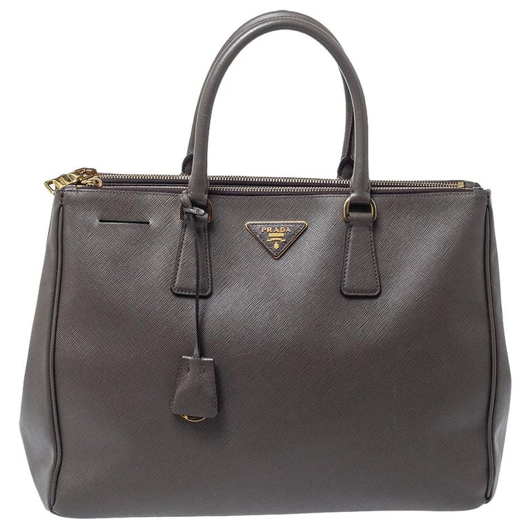 Prada Grey Saffiano Lux Leather Large Double Zip Tote For Sale