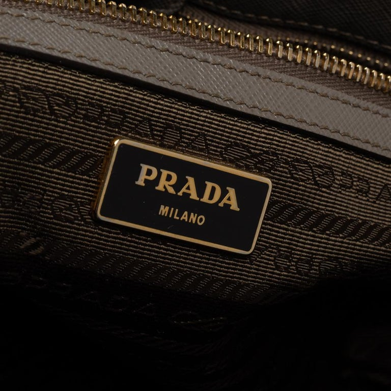 Prada Grey Saffiano Lux Leather Large Gardener's Tote For Sale 1