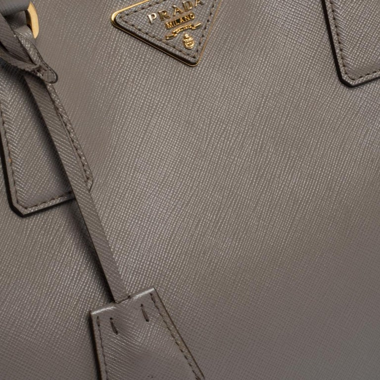 Prada Grey Saffiano Lux Leather Large Gardener's Tote For Sale 2
