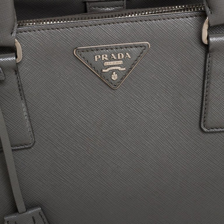 Prada Grey Saffiano Lux Leather Medium Double Zip Tote For Sale 3