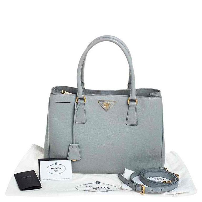 Prada Grey Saffiano Lux Leather Medium Galleria Tote For Sale 7