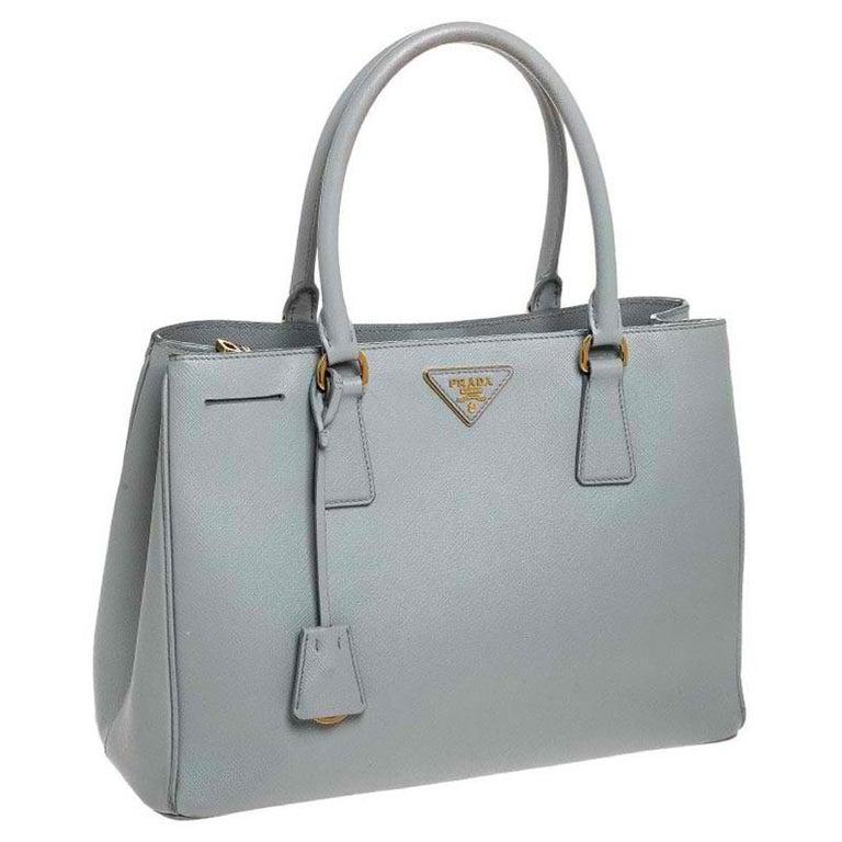 Women's Prada Grey Saffiano Lux Leather Medium Galleria Tote For Sale