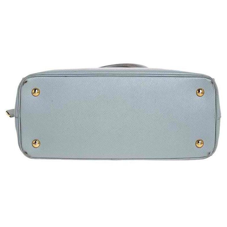 Prada Grey Saffiano Lux Leather Medium Galleria Tote For Sale 1