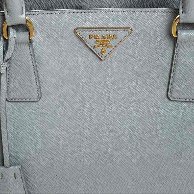Prada Grey Saffiano Lux Leather Medium Galleria Tote For Sale 2