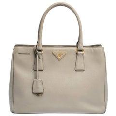 Prada Grey Saffiano Lux Leather Medium Galleria Tote
